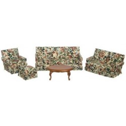 LIVING ROOM SET, 5PC, WALNUT