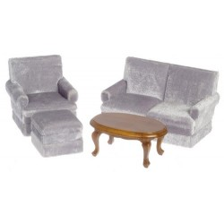 LIVING ROOM SET, 4, GRAY, WALNUT