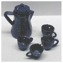 BLUE ENAMELWARE COFFEE SET, 6/PK