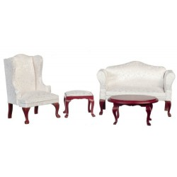 Queen Anne White Living Room Set 4pc