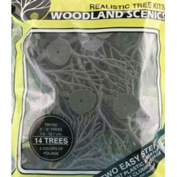 Green Deciduous Trees 14Pcs 3In-5In