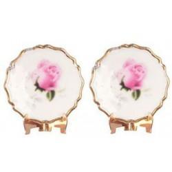 2 Pink Rose Plate/Display