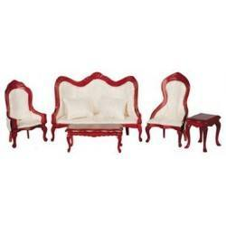 Victorian Living Room Set, 5pc