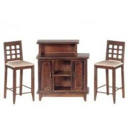 Bar Set, Walnut, 3pc