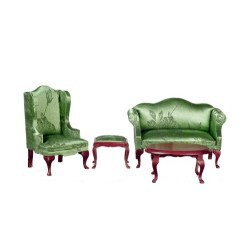 Green Brocade Queen Anne Living Room Set
