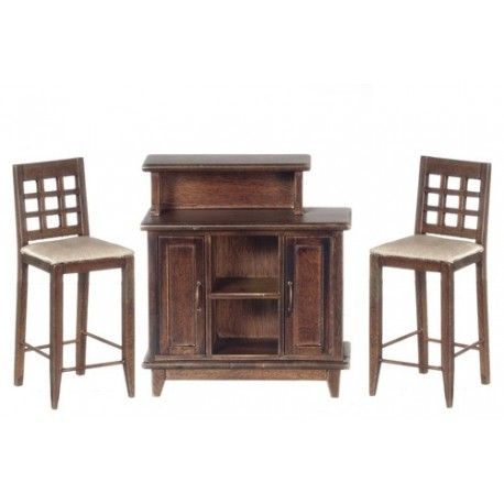 Walnut Bar and Chair Set