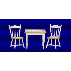 White & Oak Table and Chair Set