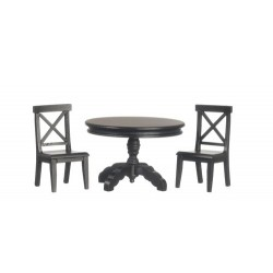 Black Pedestal Table & Chair Set