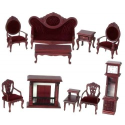 Walnut & Red Living Room Group 10 Piece
