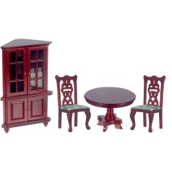 4 Pc Green & Mahogany Dining Room Set