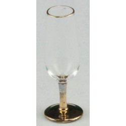 Champagne Glass, Long Stem with  Gold Trim