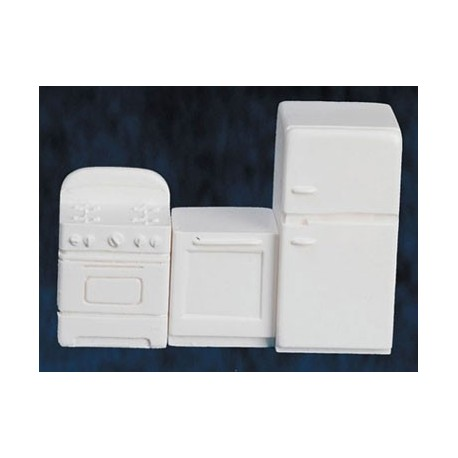 Kitchen Set, White, 3pc, 1/4 Inch Scale
