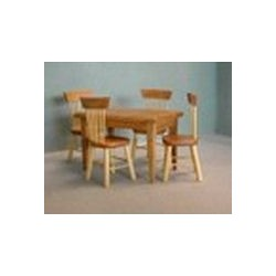 OAK TABLE-4 CHAIR DNG SET, S/5