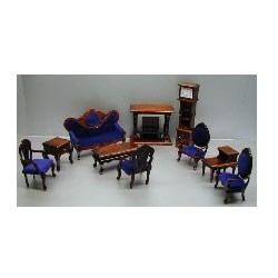 Walnut & Blue Living Room Group 10 Piece