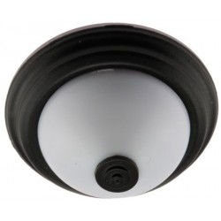 Ceiling Light, Flush Mount, Frosted With Black