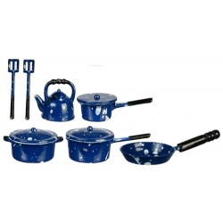 Metal Blue Spatter Kitchenware 10pc