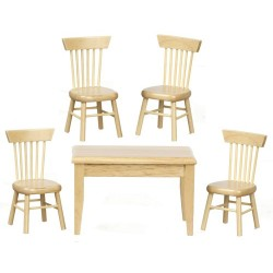 Table Chairs Set 5pc Oak