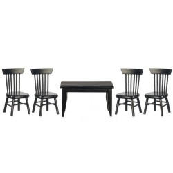 Table Chair Set 5pc Black
