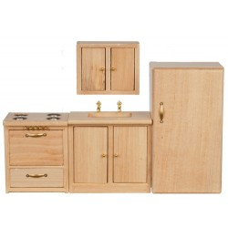 Modern Kitchen Set 4pc Oak