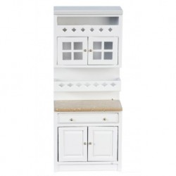 Cabinet With Shelves White & Marble
