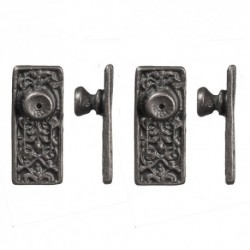 Ornate Door Knob Pewter 4pc