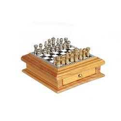Chess Board w/Drawer Oak