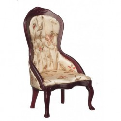 Victorian Lady's Chair Mahogany & Floral Fabric