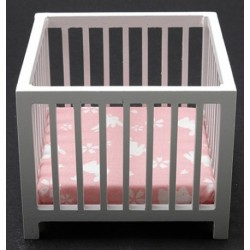 Slatted Play Pen, White with Pink Fabric
