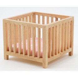 Slatted Play Pen, Oak with Pink Fabric