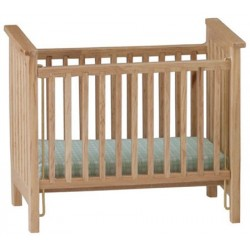 Slatted Nursery Crib, Oak with Blue Pattern Fabric