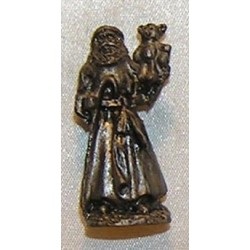 Statue,Santa with Bear, Pewter