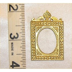PICTURE FRAME, OVAL W/SHELL,GOLD COLOR