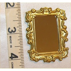 MIRROR,MED RECT, GOLD COLOR