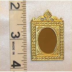 MIRROR,RECT W/SHELL, GOLD COLOR
