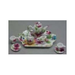 8 PC TEA SET-MULTI FLOWERS